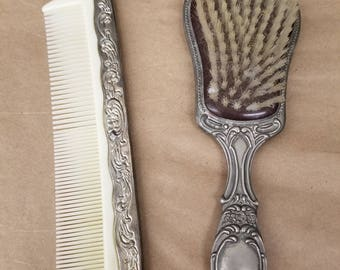Vintage Silver Plated Brush and Comb Vanity Set