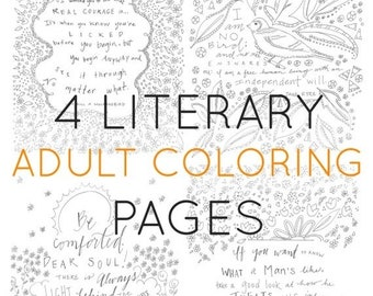 ON SALE Set of 4 adult coloring pages, literary coloring pages,printable coloring set, adult coloring pages, printable coloring, colouring p
