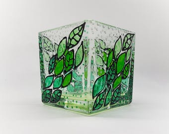Cube Tea Light Candle holder square, green leaves, decor