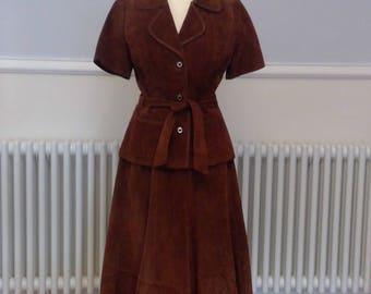 Vintage 1970s Tan Suede A Line Skirt Suit by Leathercraft, Tailored Vintage Suit, Suede Suit,  UK 8