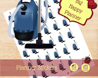 Vacuum Stickers|Chore Stickers|Single Sheet Stickers|Clean Floor Stickers|Big Happy Planner Stickers|Happy Planner Stickers|