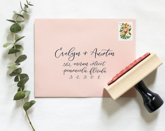 Modern Calligraphy Return Address Stamp   RSVP address stamp, Wedding return address stamp, Elegant address stamp
