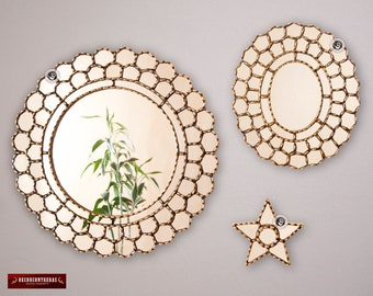 "Decorative Mirror for wall decor set 3 ""Cuzco Gold"", Ornate Round Mirrors wall Decor, Gold wood framed Mirror, Peruvian Oval & Star Mirror"