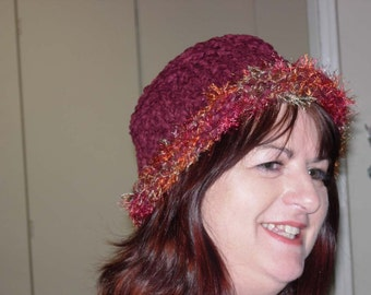 Women's knitted chenille hat
