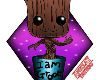 Marvels Guardians of the Galaxy I am groot 10cm sticker