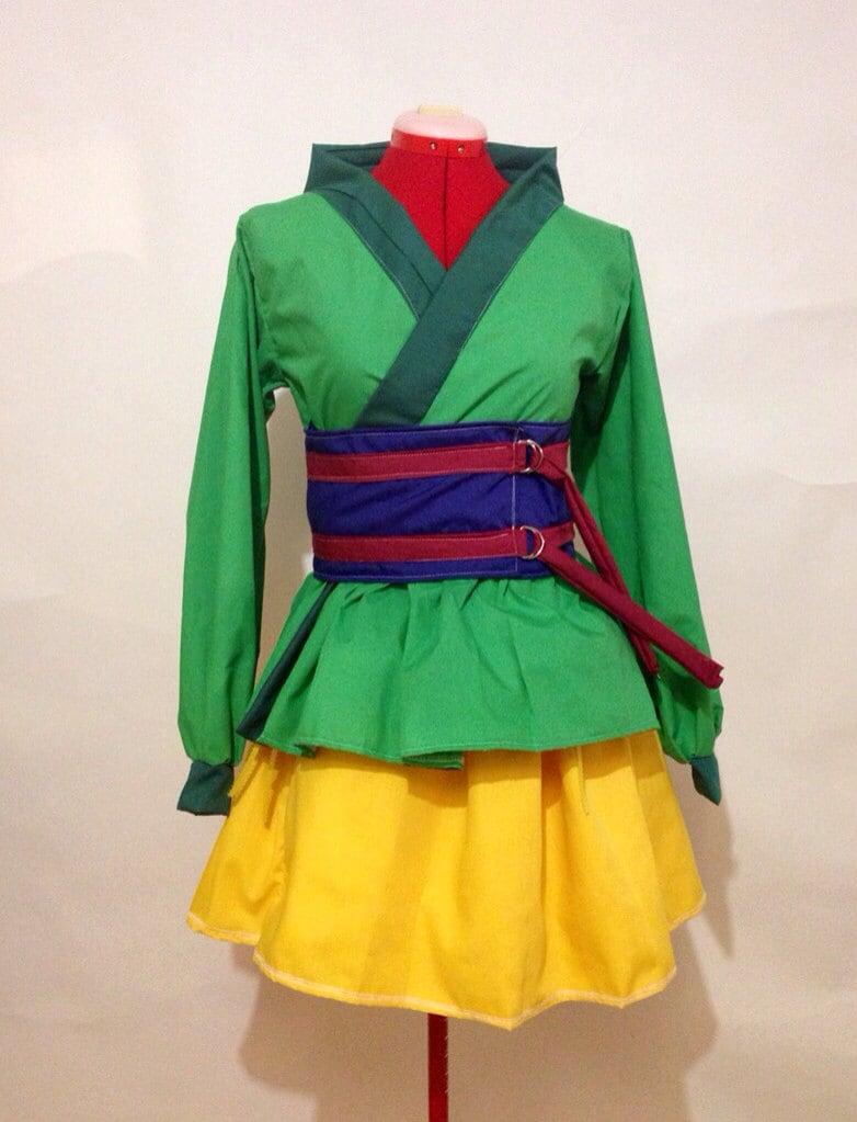?zoom & Mulan Inspired Green Kimono Dress