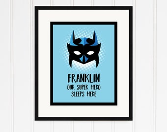 Personalised New Baby Super Hero Print.  Our Super Hero Sleeps Here. Availabje a digital file, poster, canvas or framed oprint