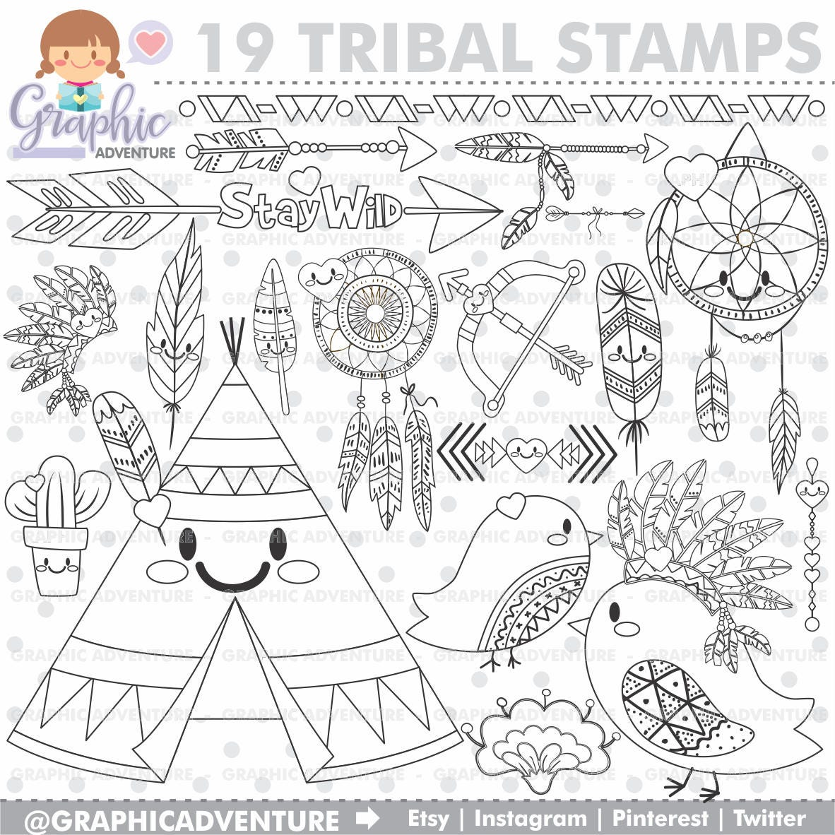 Tribal Stamp COMMERCIAL USE Digi Stamp Digital Image