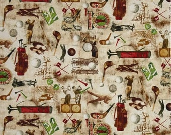 Timeless Treasures - Vintage Golf in Coffee - sports fabric - coffee brown beige sepia green red - cotton quilting fabric - BTY