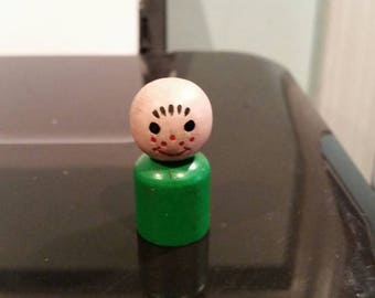 Fisher price little people green freckled boy early little people all wood