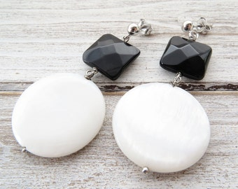 Mother of pearl earrings, black onyx earrings, sterling silver 925 earrings, white dangle earrings, coin earrings, uk gemstone jewelry