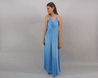 70s Halter Disco Dress / Vintage Maxi Dress / Liquid Jersey Halter Dress / Boho Dress Δ size: sm