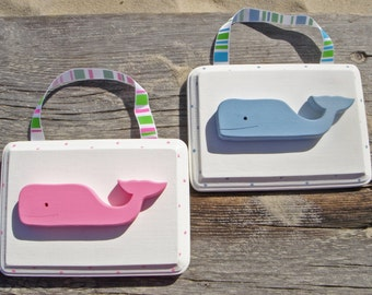 Whale Baby Plaque - Pink/Blue