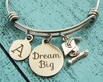 graduation gift for graduate, college graduation bracelet, new graduate gift, inspirational dream big bracelet, personalized gift, congrats