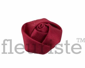 DARK RED Rosette, Satin Rolled Rosette, Fabric rose, Rolled Rosette, Wholesale Flower, Fabric Flower, Wedding Flower, Flower Embellishment