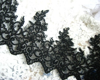 Black alencon lace trim, black vintage lace, scollaped lace, embroidered floral lace trim, 7.8 inches wide