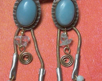 """Vintage Turquoise, Silver and Gold Tone Fish hook style pierced 2 3/4"""" long Dangle Earrings"""