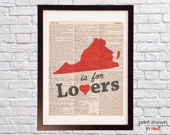 Virginia is For Lovers Dictionary Print - Virginia Art - Print on Vintage Dictionary Paper - Virginia State Outline - Virginia Art