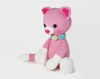 crochet cat,  stuffed pink kitty, plush stuffed pet, animal toy, handmade cat, crochet toy, amigurumi cat, toy cat softie, crochet kitty