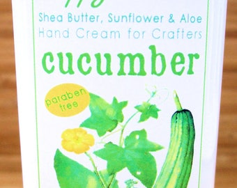 Scented Shea Butter Hand Lotion - Fresh Cucumber Light Fragrance - Hand Cream for Knitters Happy Hands Knitting