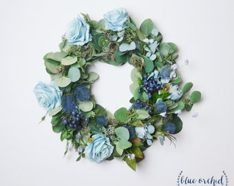 Wreath, Blue Wreath, Boho Wreath, Home Decor, Silk Flower Wreath, Artificial Wreath, Greenery Wreath, Navy, Thistles, Berries, Eucalyptus