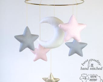 Baby Mobile, White Baby Pink Grey Gold Baby Mobile, Baby Crib Mobile, Stars Baby Mobile,  Nursery Decor, Gift Packaging