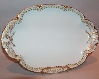 """8148: Antique Haviland Limoges 13.5"""" Large Platter Serving Tray Clover Leaf Schleiger Pattern 113 at Vintageway Furniture"""