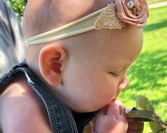 Shabby Chic Headband, Baby Headbands, Infant Headbands, Baby Shower Gift, Baby Nylon Headbands, Baby Flower Headband, Baby Headband