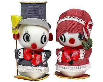 Vintage Christmas Snowman Snow Lady Pair, Felt Fabric, Vintage Big Eye Snowman, Retro Christmas, Mid Century Christmas Decoration