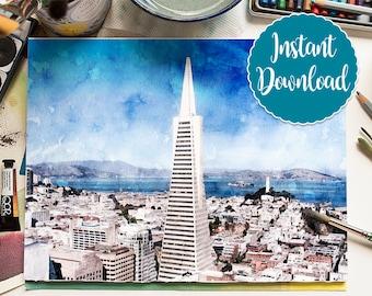 SAN FRANCISCO #4 Digital Download Watercolor Transamerica San Francisco CA Oil Painting Canvas Art Print Landscape Painting Home Decor