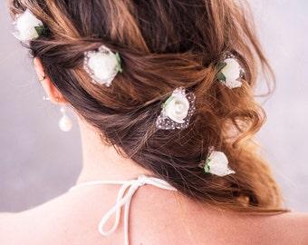 Wedding Floral Hair Pins,White Roses Hair Pins,Bridal Bobby Pins,Woodland Wedding Hair Pins,White Rose Bobby Pins,Wedding Flower Bobby Pins