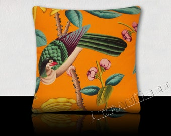 Exotic bird pillow / fruits and exotic foliage in bright colors. Turquoise/yellow/green Emerald/fuchsia/black/Tangerine Orange.