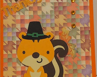 Happy Thanksgiving Squirrel Card/Thanksgiving Cards/Homemade-Handmade Cards-Holiday Cards/Seasonal Cards/Greeting Cards