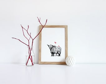 Highland Cow Print, Highland Cow Art, Highland Cow Wall Art, Scottish Animal Print, Cow Wall Art, Highland Cow Gift, Black and White Cow