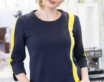 Neoprene blouse with contrast yellow stripe