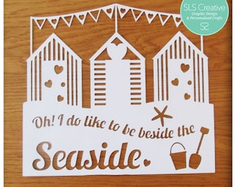 Beach Huts & Bunting - Beside the seaside paper cut / papercut template DIGITAL DOWNLOAD -