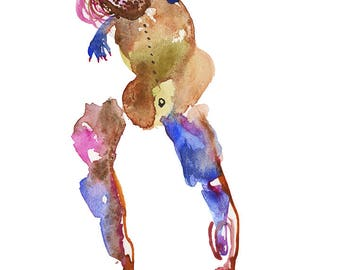 Unique Abstract Watercolor Figure Painting featuring Original Fashion Art - 265
