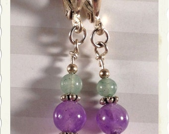 Garden Blooms Sterling Earrings--Pink, Purple and Green Gemstones--Nice Gift Item