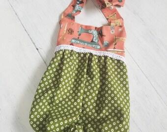 Baby Girl Boho Romper, Vintage Sewing Romper, Vintage Style Boho Romper