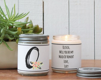 Monogram Bridesmaid Gift | Scented Soy Candle Gift | Monogram Candle | Best Friend Gift | Sister Gift | Gift for Mom | Gift for Her