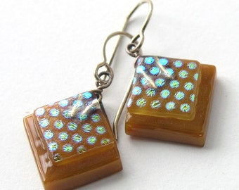 Petite Caramel Fused Glass Earrings with Shimmering Tiny Dots . Fused Glass Earrings  .  Espresso .  Golden Dot Pattern
