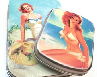 Large hinge tin and Small flat Medium hinge tin Duo. . . Pin - ups . . . Great for pins.