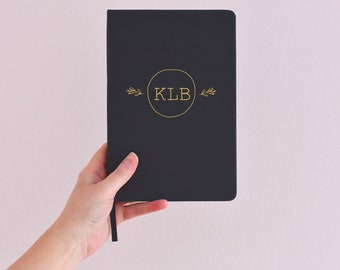 Monogram personalised notebook, customised initial journal, a5 notebook, travel journal, prayer journal, lined notebook, name notebook