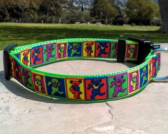 "Grateful Dead Dancing Bears Adjustable and Handmade 3/4"" Dog Collar"