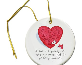 If Love is a Puzzle Heart Ceramic Hanging Ornament