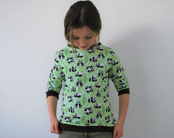 Panda top sweater peppermint green jersey retro cute animal print jumper unisex boys girls style cotton funky pandas kids baby kitsch
