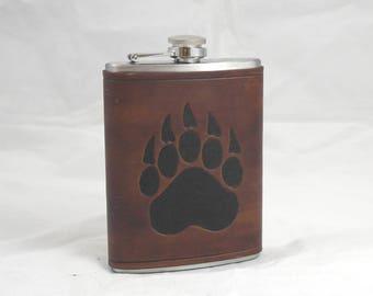 Bear paw leather flask 8oz