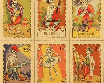 One (1) Yard - Cartas Marcadas Tea Day of the Dead Fabric by Alexander Henry Fabrics 7666C