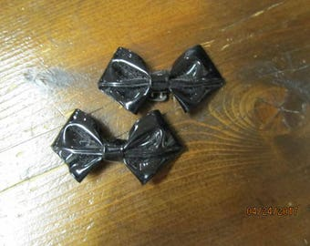 Vintage Black Bow Shoe Clips Leatherette Shoe Jewelry Party Black Tie
