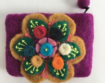Colorful Handmade Wool Felt Coin Purse